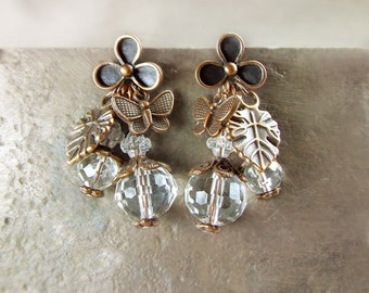 Vintage style Asymmetrical earrings studs.