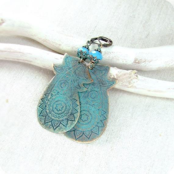 Copper  paisley earrings, green blue patina