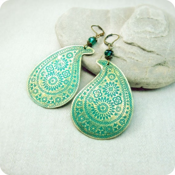 Brass earrings paisley with green blue patina.