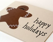 Hipster Gingerbread Man Happy Holidays Card