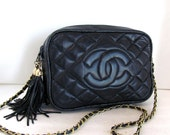 Vintage Chanel Style CC Logo Quilted Gold Chain Huge Double Tassel Bag Navy Blue
