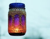 Hand Painted Eclectic Mason Jar Hanging Lantern, Deep Plum Tinted Glass with Golden Filigree Surface, Colorful Home Accents