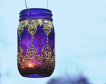 Moroccan Lantern, Mason Jar Hanging Lantern, Bohemian Decor, Candle Lantern with Plum Tinted Glass and Golden Henna Design, Outdoor Lighting