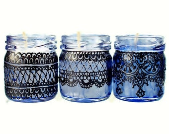 Gift Set of Three Moroccan Inspired Mini Jar Candles- Blue Glass with Black Lace Detailing