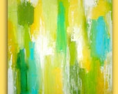 ORIGINAL Abstract Painting Original Large Art Textured Fine Art on Gallery Canvas. SPRING GREEN 36x36x1.5