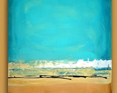 """OCEAN & SAND Turquoise,Tan Abstract Acrylic Large Painting Original Art Textured Fine Art on Gallery Canvas 24x30x1.5"""""""