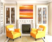 "Modern Contemporary Orange and Yellow Abstract Acrylic Original Painting on Canvas Titled: TANGERINE SKY 20x20x1.5"" by Ora Birenbaum"