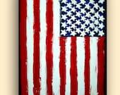 "ORIGINAL American Flag Acrylic Abstract Painting Titled: FREEDOM 30x40x1.5"" by Ora Birenbaum"