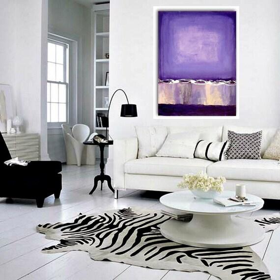 "Purple Art Acrylic Abstract Painting Purple and White Fine Art SALE AMETHYST 30""x40""x3/4"".  Ora Birenbaum Original"