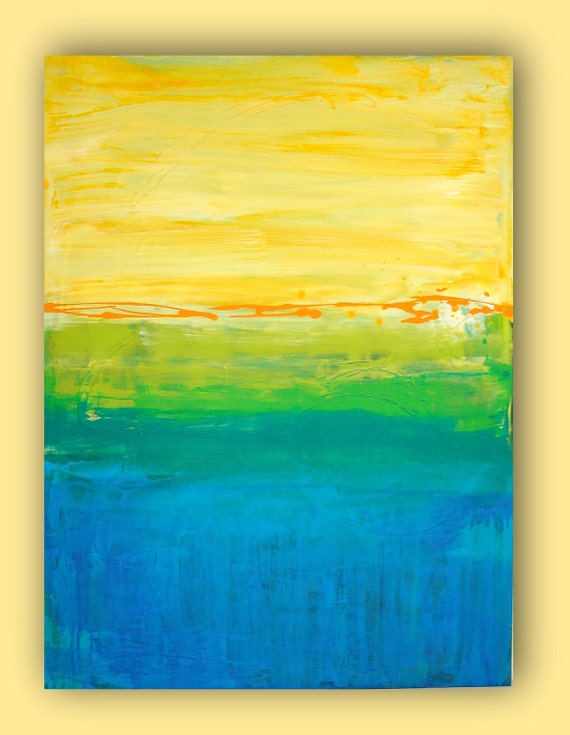 SUMMERTIME.  Large Original Abstract Painting. 30x40x1.5""