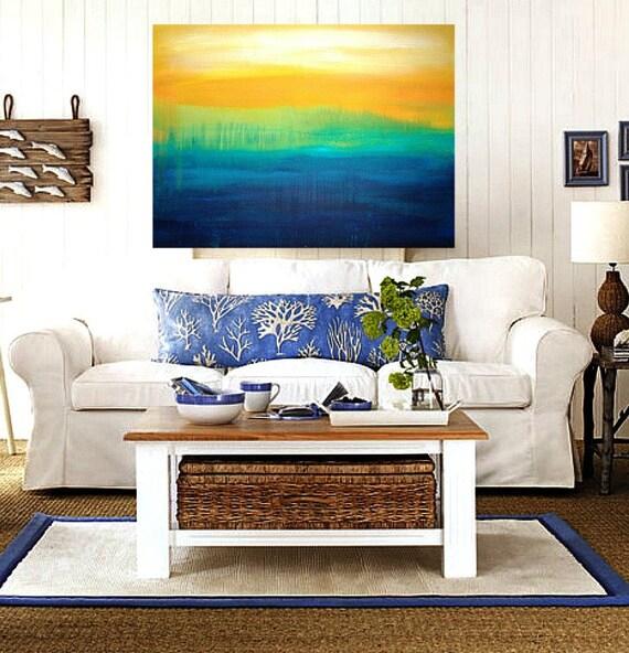"Abstract Acrylic Modern Contemporary Canvas Painting SALE. THE LAKE 30x40x3/4"".  Original Ora Birenbaum"