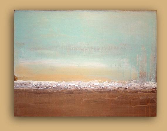 "Huge Painting Acrylic Abstract Original Fine Art on Canvas SALE Titled: OCEAN BREEZE. 36x48x1.5""by Ora Birenbaum"