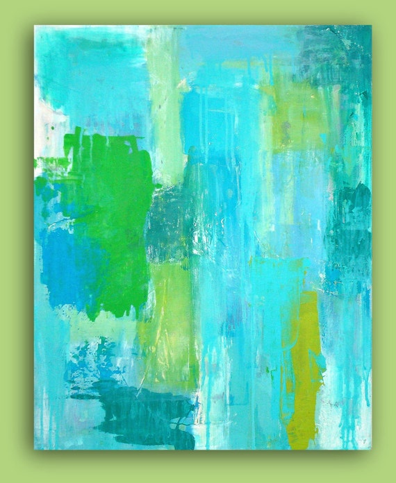 """RESERVED.Turquoise Abstract Acrylic Painting Original Wall Art textured Fine Art on Gallery Canvas Titled: TURQUOISE RAIN. 24x30x1.5"""""""