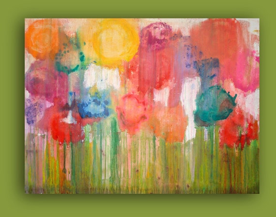 "RESERVED. FLOWER GARDEN. 30x40x1.5"" Original Ora Birenbaum Acrylic Abstract Painting."