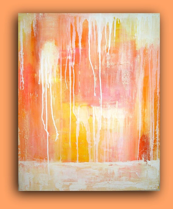 """Painting Coral Abstract Painting Original Acrylic Art Textured Fine Art on Gallery Canvas 24x30x1.5"""" Titled: Raining White by Ora Birenbaum"""