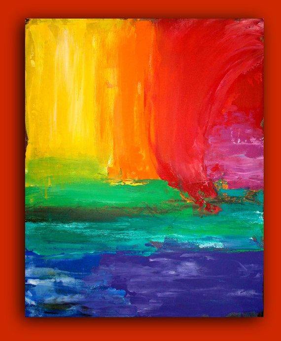 "Rainbow Abstract Painting Original Large Art Contemporary Fine Art on Gallery Canvas Titled: COLOURS.24x30x1.5"" By Ora Birenbaum"