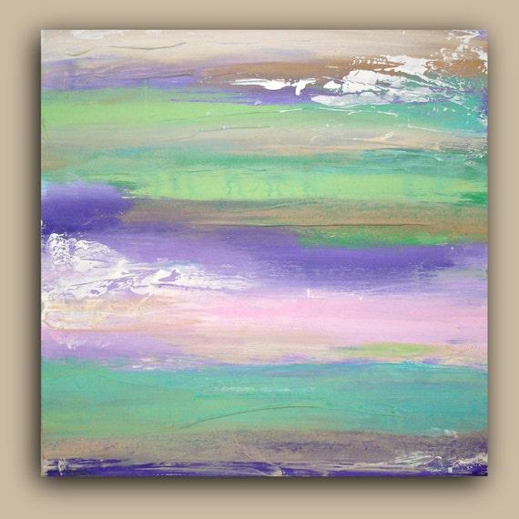 "Art Acrylic Abstract Painting Original Fine Art on Gallery Canvas Titled: Dreamy 20X20X1.5"" by Ora Birenbaum"