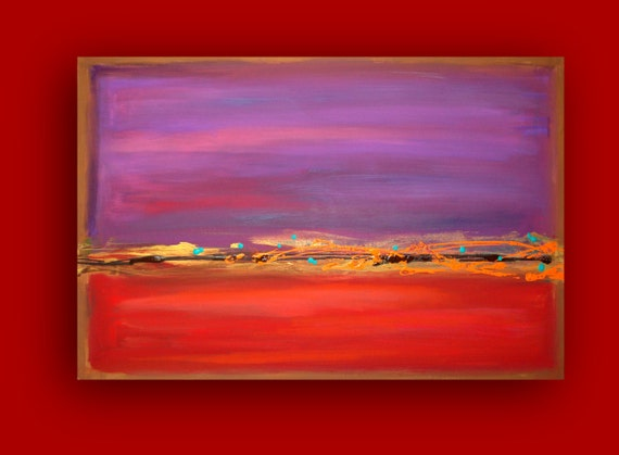 Modern Contemporary Canvas Red and Purple Original Acrylic Abstract Painting Fine Art on Gallery Canvas 24x36x1.5 by Ora Birenbaum