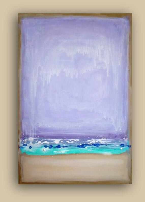 "ABSTRACT ART Simplicity Purple, and Aqua Original Abstract Acrylic Fine Art Painting Shabby Chic 24x36x1.5"" by Ora Birenbaum"