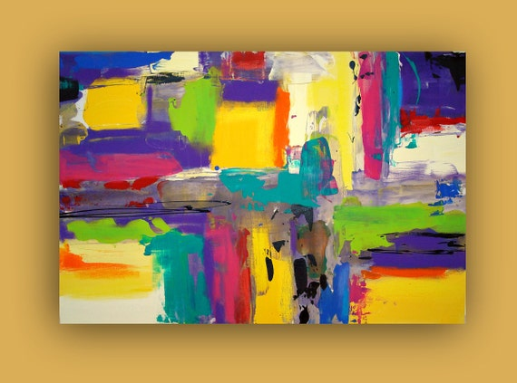 """ORIGINAL ABSTRACT PAINTING Modern Contemporary Canvas Colorful Bright and Bold Fine Art Titled: Subway 24x36x1.5"""" by Ora Birenbaum"""