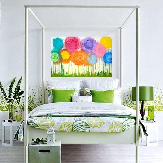 "SUNSHINE & LOLLIPOPS Colorful Original Acrylic Abstract Flower Painting Fine Art on Gallery Canvas 24x36x1.5"" by Ora Birenbaum"