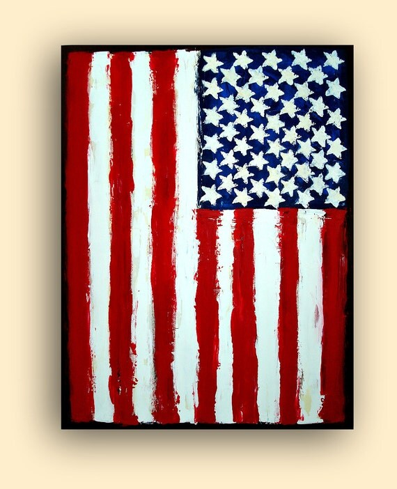 "ORIGINAL American Flag Acrylic Abstract Painting Titled: FREEDOM 30x40x1.5"" by Ora Birenbaum"