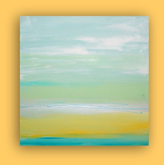 "Aqua and Yellow Original Abstract Acrylic Fine Art Modern Painting Titled : CALMING WATERS 30x30x1.5"" by Ora Birenbaum"