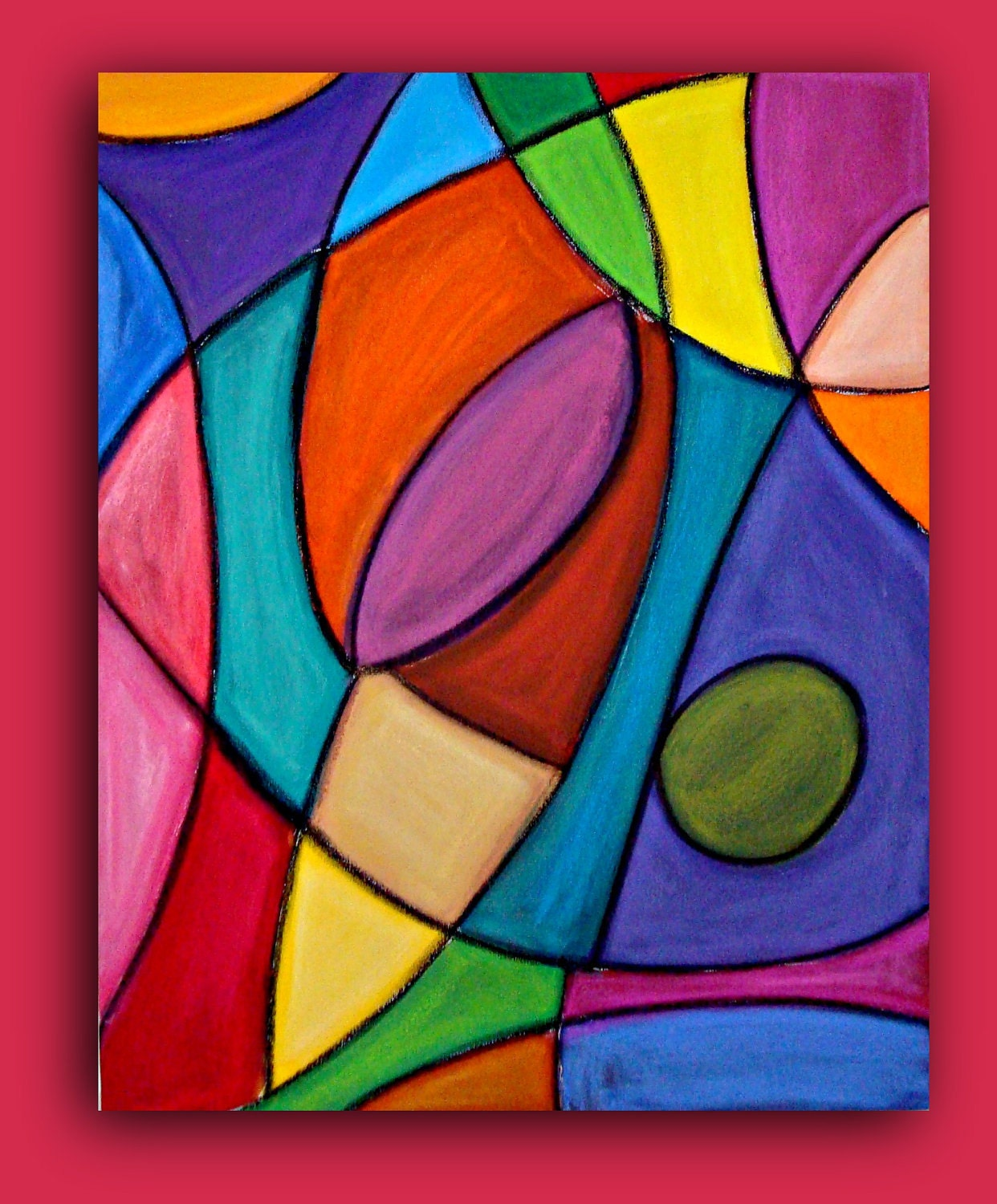 Bright colorful original abstract painting by orabirenbaumart for Artists who use shapes in their paintings