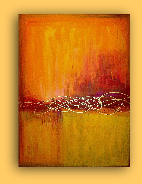 Art original abstract huge orange and red acrylic abstract for Abstract painting in acrylic