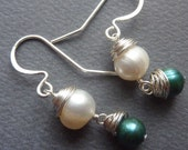 Wire Wrapped Silver Blue & White Freshwater Pearl Earrings