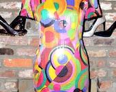Vintage 80s Multi- Colored Sequins Party Dress