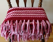 Maroon Striped Afghan Throw Blanket, Crochet Afghan, Fringed Lap Robe, Couch Throw