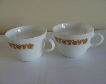 Pyrex Coffee Tea Cup Butterfly Gold Pattern, Retro Kitchenware