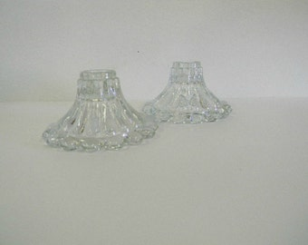 Clear Glass Candlestick Holders, Bubble Ribbed Candle Holders, Home Table Decor