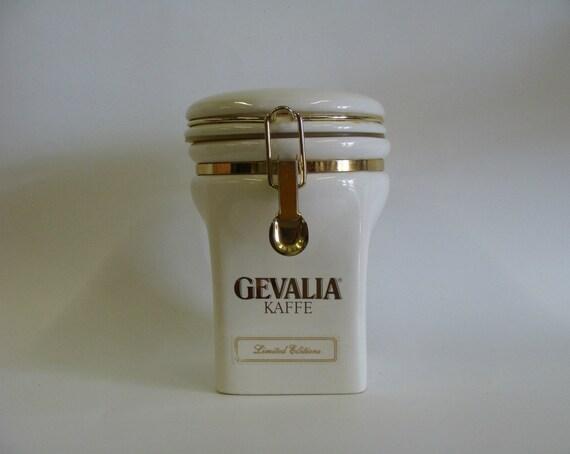 Vintage Ceramic Coffee Canister Jar / White Ceramic Coffee Canister Jar / by Gevalia Kaffe