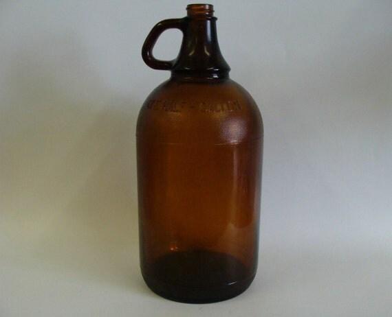 Duraglas Amber Glass Bottle Jug / Half Gallon