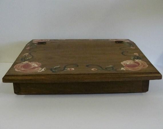 Vintage Wood Secretary Box / Dresser Desk Organizer / Wood Keepsake Trinket Box