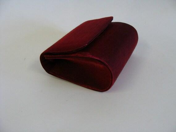 Vintage Red Satin Evening Bag Purse Clutch by La Regale LTD