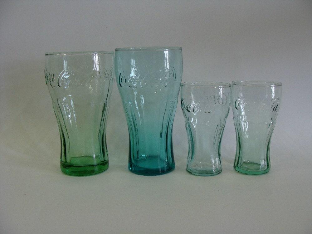 Retro Green Coca Cola Glasses Set Of Four Coca Cola Glasses