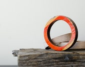 Wooden Bangle Bracelet  with Recycled Vintage Water Ski