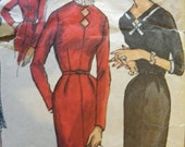 Vintage 50s Pattern Ladies One Piece Dress with detachable collar Simplicity 1718 Bust 44