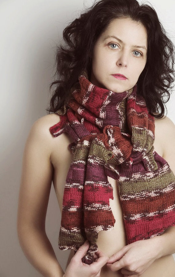 Colourful Striped Hand Knitted Original Design SCARF