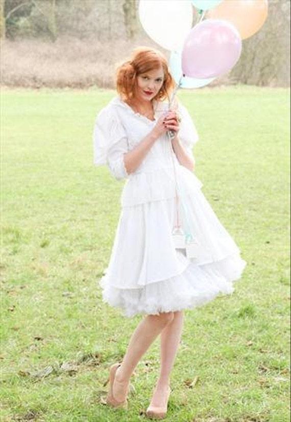 Vintage white peplum frill dress/ wedding dress