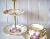 Vintage Ashley Tea Cup Candle & Cake Stand