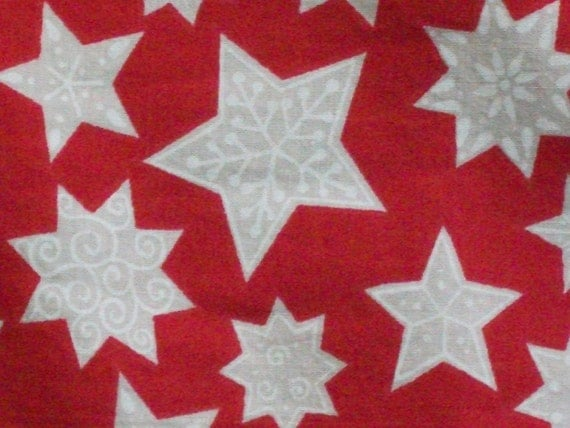 CHRISTMAS FABRIC- Red with White Stars and Snowflakes