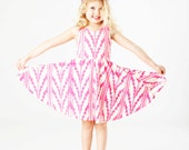 Southwest Twirling Dress in Hot Pink on Creme