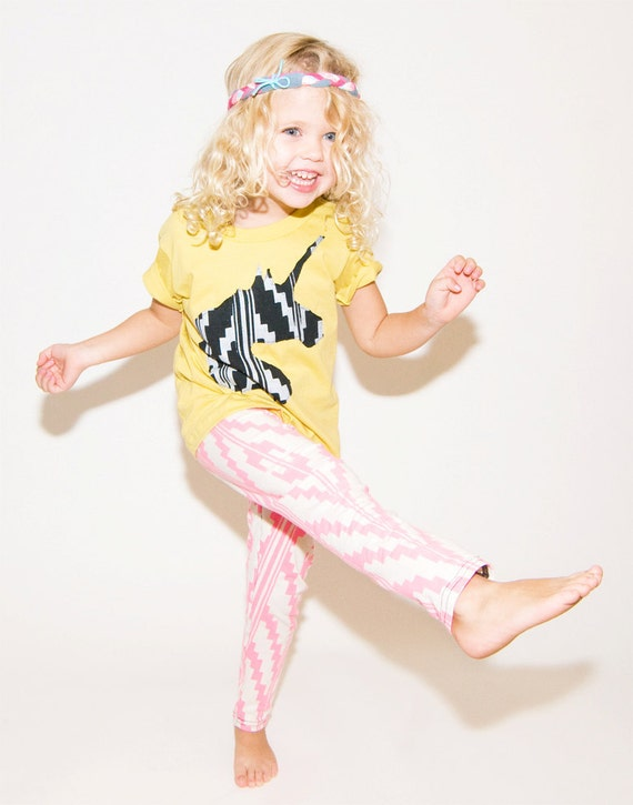 Unicorn Black and White Applique T Shirt in Butter Yellow