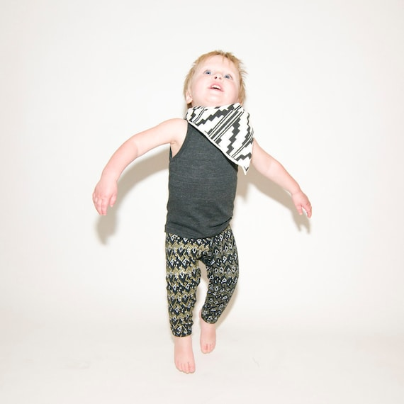 Hand Printed Baby Leggings in Gold and White on Black 'Snakeskin' Print