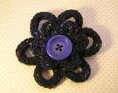Large Black Double Daisy brooch