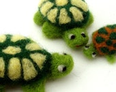 Needle felted Turtle family - 3 cute felt animals in green - mommy turtle, daddy turtle, adopted baby turtle